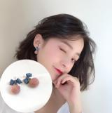 韩国少女心蝴蝶结甜美百搭线布球撞色耳钉