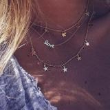 欧美时尚金属五角星字母LOVE星星项链