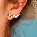 韩国珍珠钻五角星个性简易耳钉
