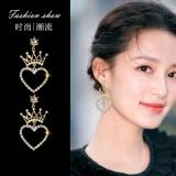 韩国爱心珍珠皇冠清新气质长款耳钉