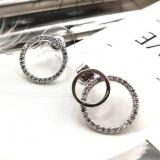韩国简约气质钻石单环双环不对称耳环