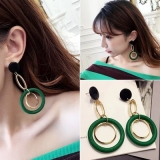 韩国时尚夸张复古木质长款圆圈耳钉