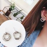 韩国闪钻创意个性圆圈耳钉