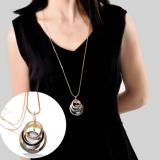 韩国时尚宝石圆圈黑钻长款毛衣链项链