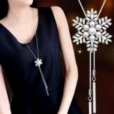 韩国时尚气质雪花珍珠 长款项链