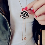 韩国复古黑色玫瑰花长款项链