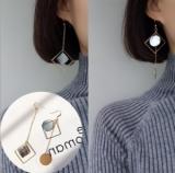 韩国简约时尚天然贝壳圆片几何方形长款耳坠耳环