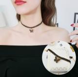 韩国水晶蝴蝶项圈锁骨短项链