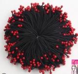 韩国蝴蝶结高弹力头绳批发 6颗红珠发圈女扎头发皮筋
