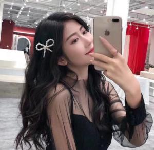 韩国头饰珍珠蝴蝶结边夹可爱少女头发夹