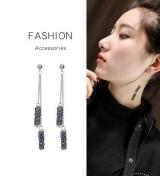 韩国创意蓝色满钻流苏耳环长款几何耳坠