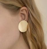 外贸饰品欧美原单质感时尚夸张金色光面圆盘气质女款耳钉耳环