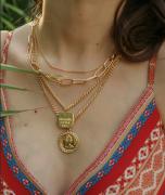 欧美硬币合金多层项链吊坠流行钱币跨境电商亚马逊专供饰品