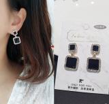 韩国方块黑色水晶耳环红耳坠耳钉