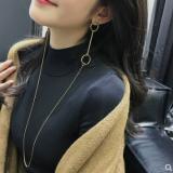 s925银针韩国圆圈耳环项链一体挂脖耳钉