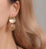 欧美复古几何耳环简约编织圆球珍珠耳环