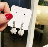 s925银针韩国镶钻珍珠耳环