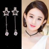 S925银针韩国五角星镶钻长款耳钉耳环