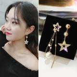 s925银针韩国不对称五角星珍珠流苏耳环