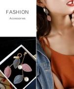 韩国不对称树叶珍珠长款流苏耳环