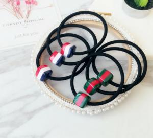 韩国简约可爱甜美条纹方块发圈发绳 亚克力头绳