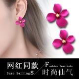s925银针韩国永生花花瓣喷漆耳环耳钉