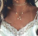 欧美流行时尚女士新款跨境爆款多层五角星独特造型项链组合