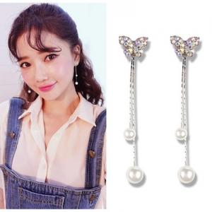 韩国气质蝴蝶珍珠流苏耳环