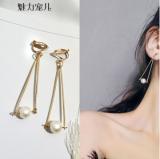 韩国简约清新冷淡风无耳洞几何三角珍珠耳夹