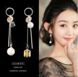 韩国简约气质不对称水晶珍珠长款耳钉