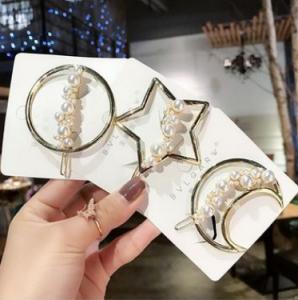 新款韩国网红边夹圆形刘海夹碎发夹月亮珍珠五角星发卡头饰品发
