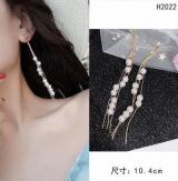 s925银针韩国珍珠流苏长款耳环
