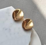 【限量款】欧美时尚简约气质百搭复古合金双层圆片耳钉