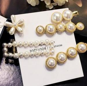 韩国百搭优雅气质合金一字夹创意网红珍珠发夹女