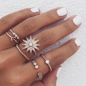欧美个性满钻星星月亮戒指套装新款跨境饰品