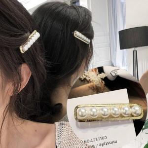韩国珍珠一字夹方框6珍珠发夹