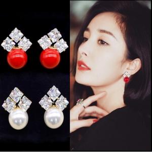 S925韩国气质百搭珍珠锆石耳钉女