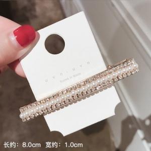 韩国东大门代购同款长款珍珠超闪水钻发夹
