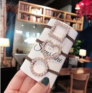 韩国爱心圆圈珍珠网红个性气质简约几何发圈