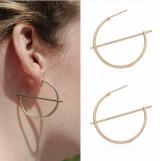 欧美个性夸张几何金属耳环