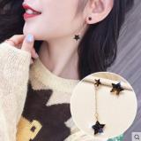 韩国东大门同款S925银针不对称五角星耳环个性锆石水钻耳钉耳饰女