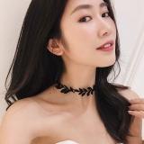 韩国蕾丝树叶网红 hoker短款项链
