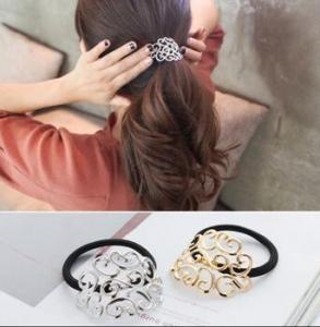 韩国创意时尚复古花纹发绳校