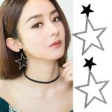 韩国个性夸张满钻五角星长款耳钉