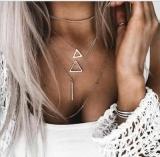 欧美时尚多层镂空大小三角形一字长款链条多层项链