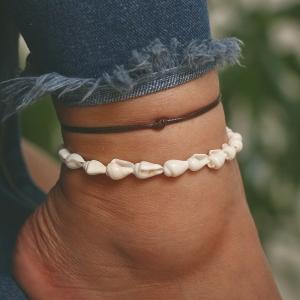 欧美时尚复古皮绳编织海螺贝壳手工串珠多层沙滩风脚饰