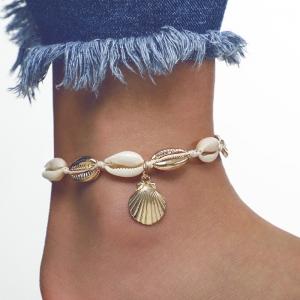 欧美时尚几何海螺贝壳金属线绳脚链