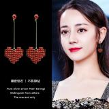 韩国网红同款爱心满钻长款耳钉