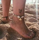 【6-20】欧美时尚几何海螺贝壳金属线绳脚链
