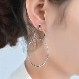 欧美个性夸张简约几何圆环双环大小耳环